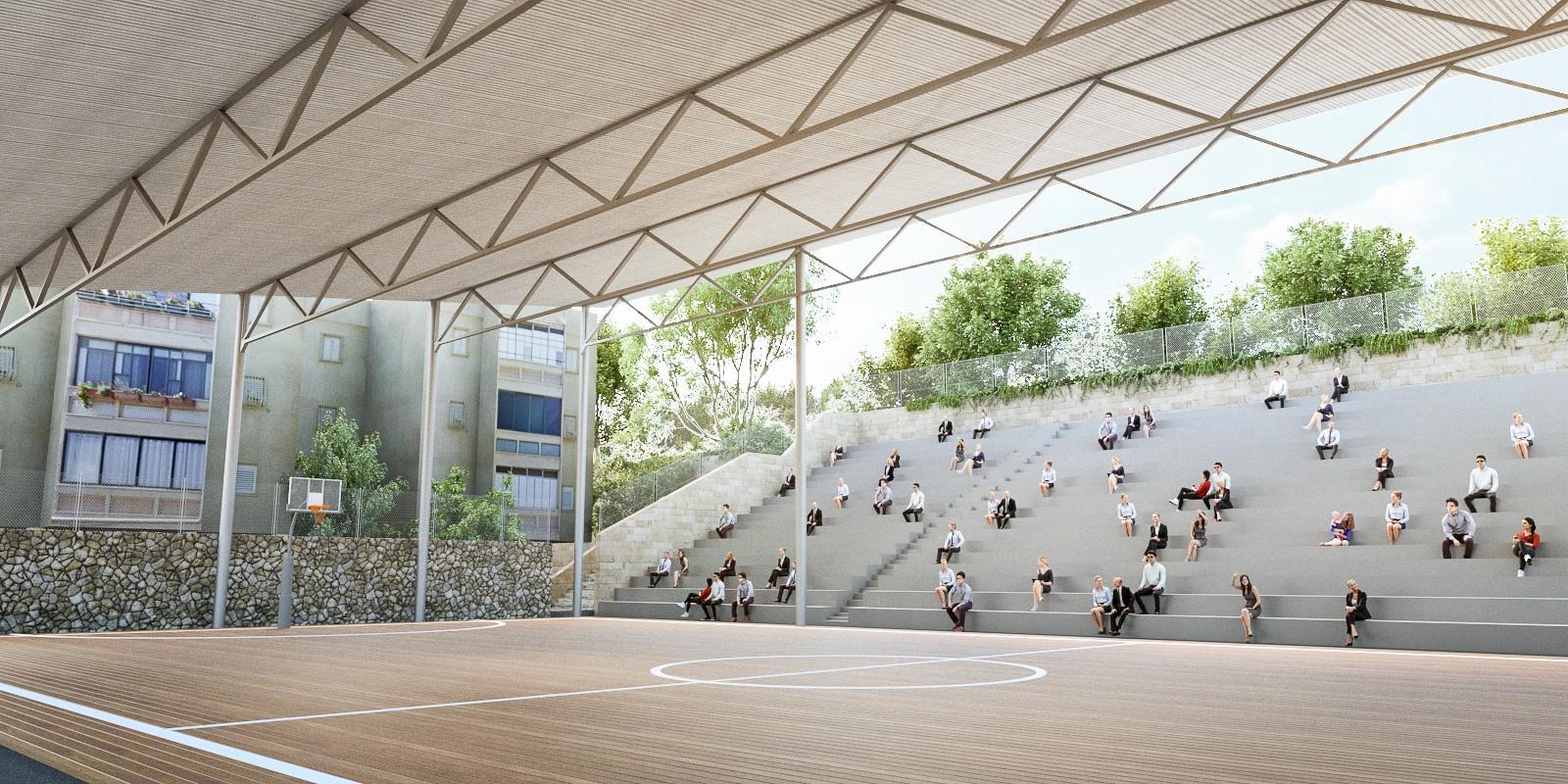 תכנון אדריכלי של קירוי מגרש ספורט קיים